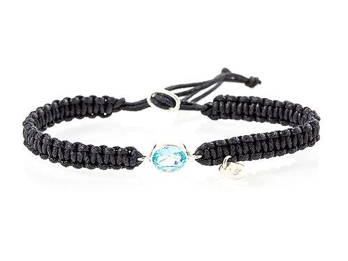 Bracelet Macramé et Topaze bleue
