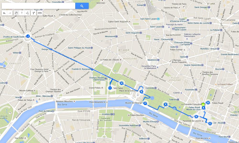 mapa roteiro louvre champs-elysèes