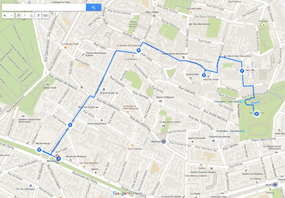 mapa montmartre paris