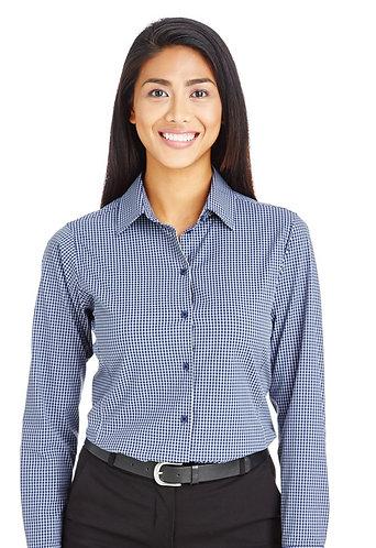 DG535W Devon & Jones CrownLux Performance™ Ladies' Tonal Mini Check Shirt