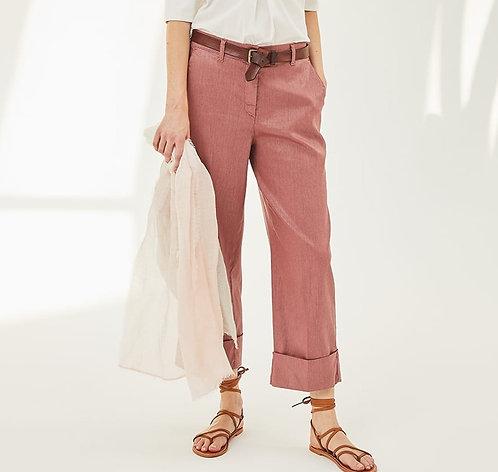 Pantaloni Biancalancia in lino spalmato