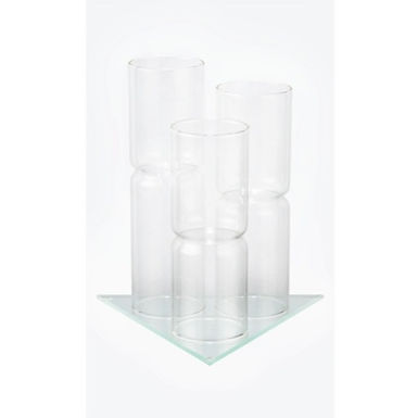 Support en verre pour 3 fioles