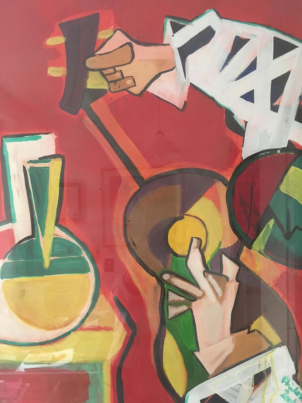 Guitarist, 2002,  oil on primed paper by Helena Hůlová