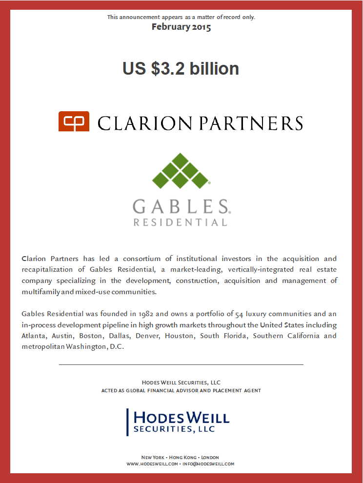 Clarion Partners / Gables Residential
