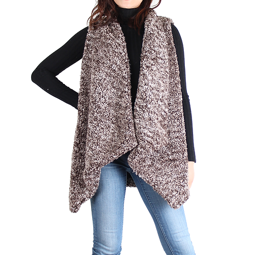 Brown Sherpa Open Front Sleeveless Vest