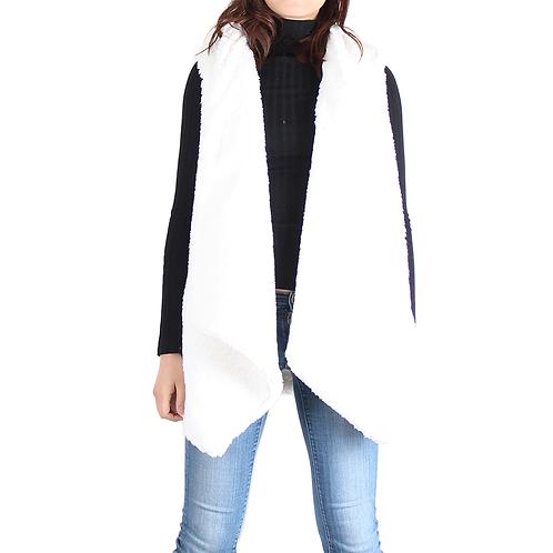 Ivory Sherpa Open Front Sleeveless Vest