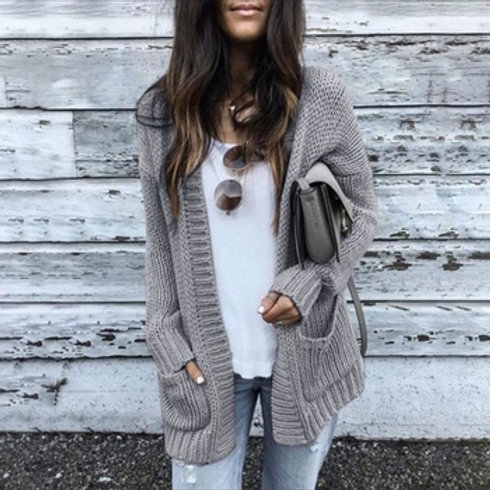 Warm Long Solid Knitted Sweater Cardigan