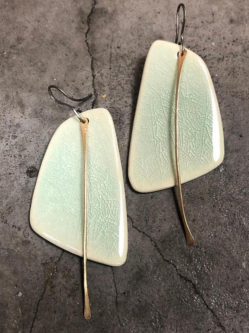 Celadon Sail Earrings with Metal Tassel