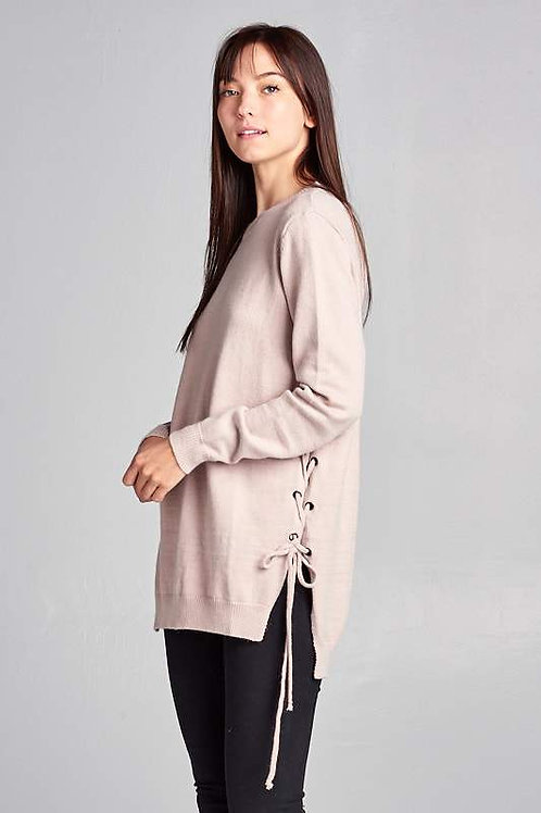 Long Sleeve Sweater With Tie Up Detail