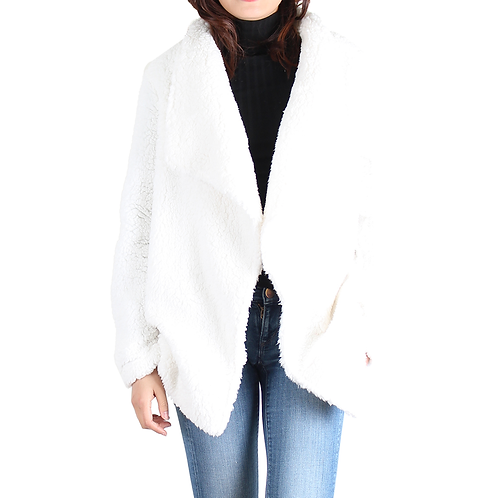 Ivory Open Front Sherpa Jacket
