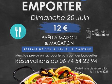 l'APEL vous propose un repas à emporter le dimanche 20 juin 2021