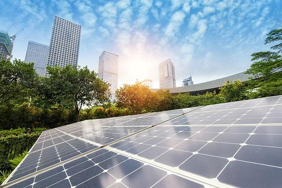 solar panels, city