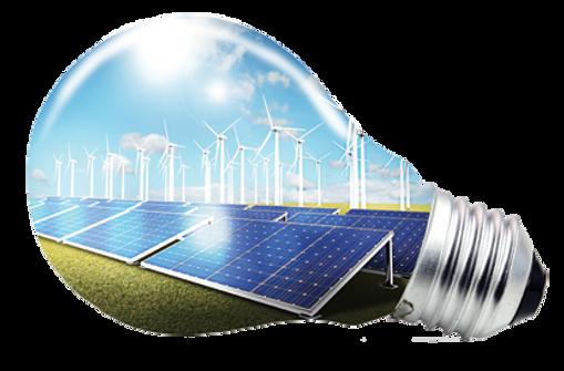 solar panels, windmill, lightbuld, sustainability