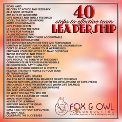 Fox & Owl - Leadership Rescue 40 Steps to Effective Leadership Graphic
