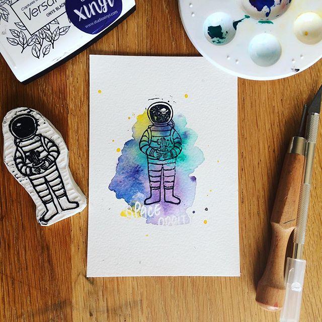 Space oddity 🚀 _#watercolor #rubberstamp #astronaut #cactus #handmade #sketch #illustration #postca
