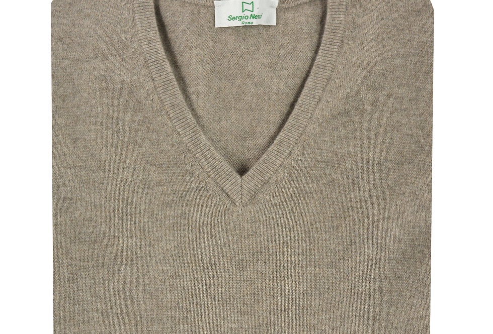 Pullover scollo V maglia rasata puro cashmere