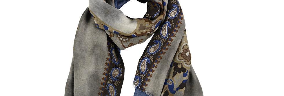 Sciarpa reversibile disegno Paisley/floreale