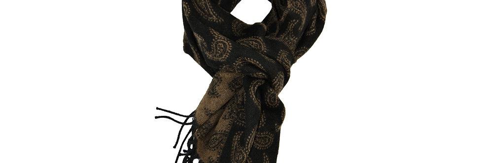 Sciarpa classica con frange reversibile disegno Paisley puro cashmere