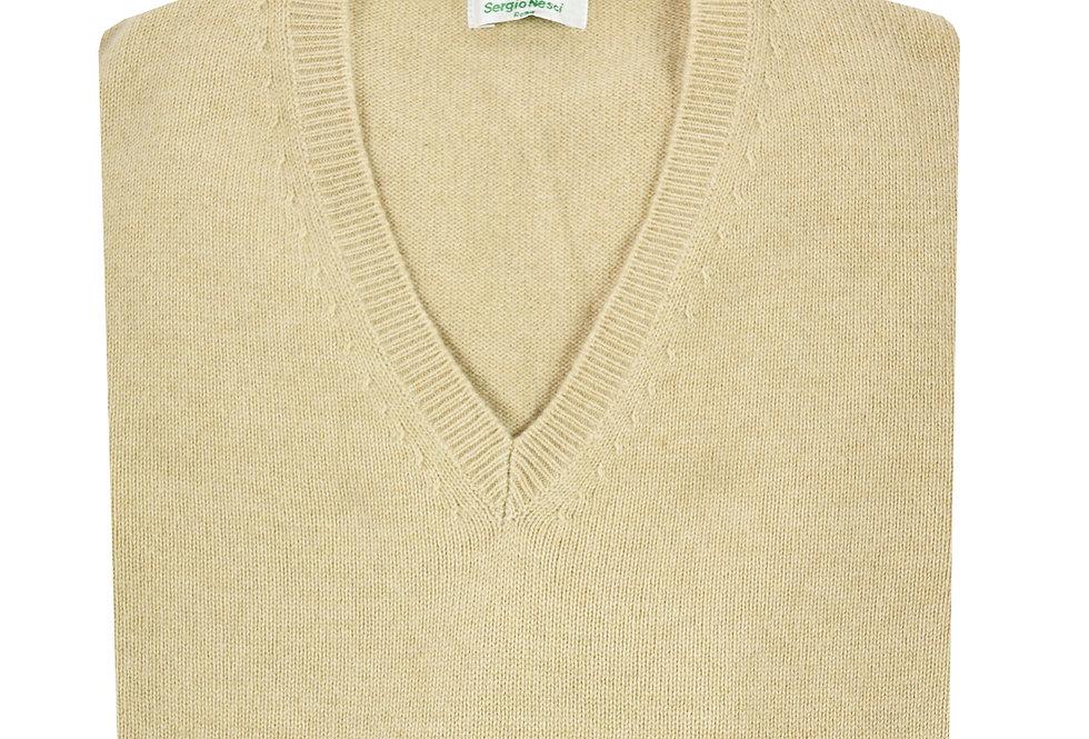 Pullover sollo V doppio filo puro cashmere