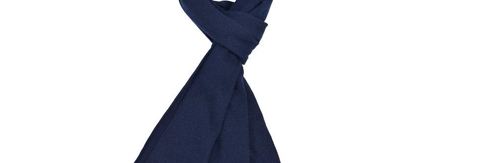 Sciarpa rasata puro cashmere con profilo in contrasto blue/marrone