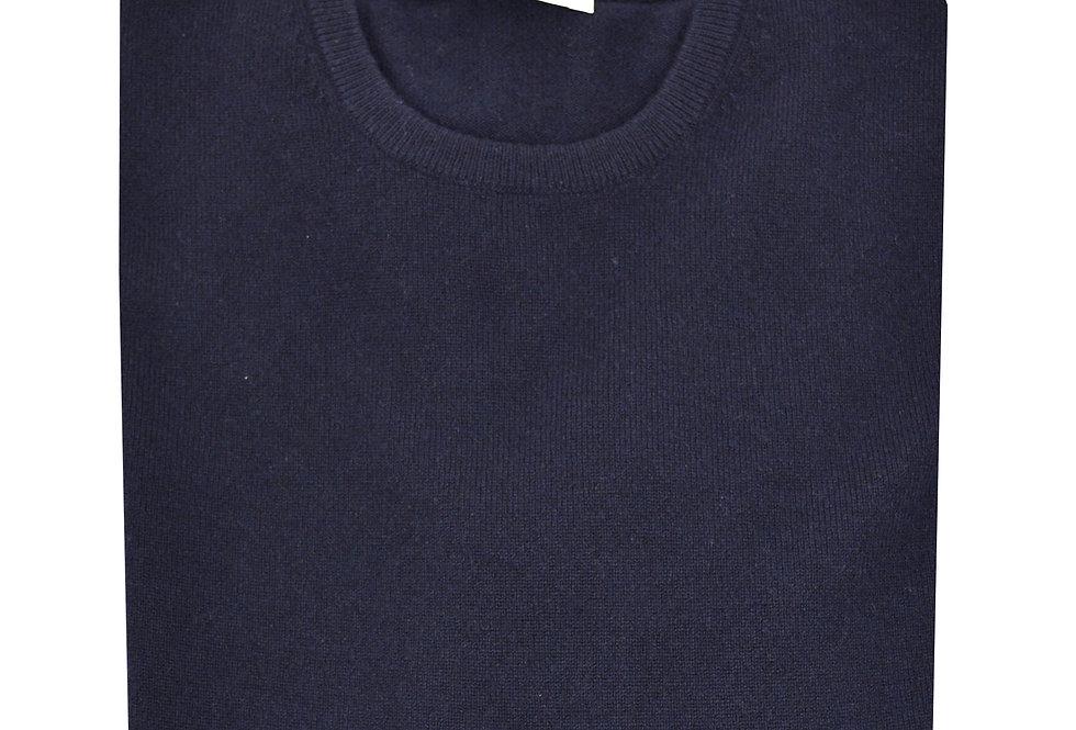 Pullover girocollo rasato puro cashmere