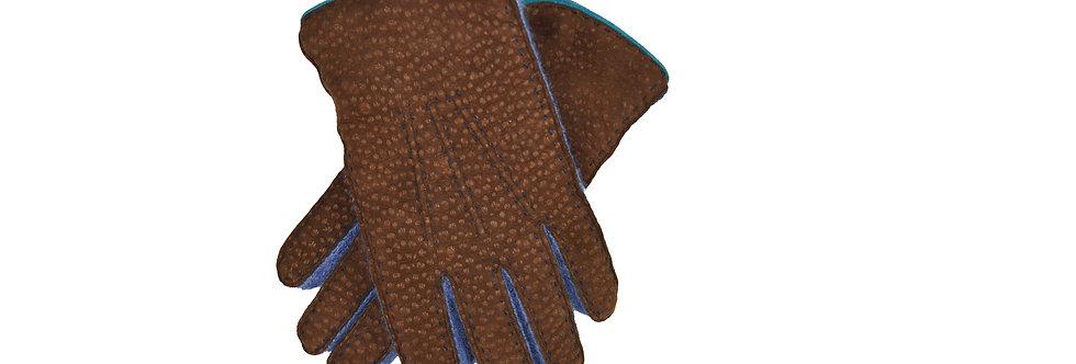 Guanti in pelle di Peccary/camoscio interno puro cashmere
