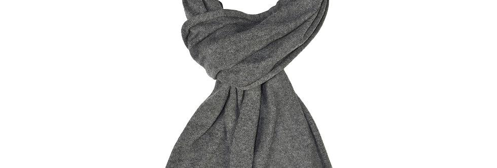 Sciarpa rasata puro cashmere con profilo in contrasto grigio/marrone