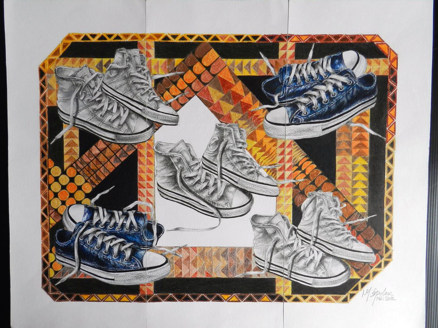 5 tênis em textura colorida