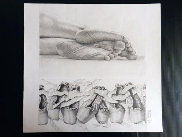 Pés e sapatilhas de ballet