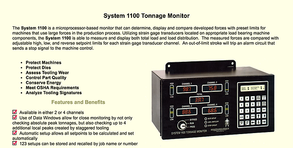 Die protection systems 100 Tonnage Monitor