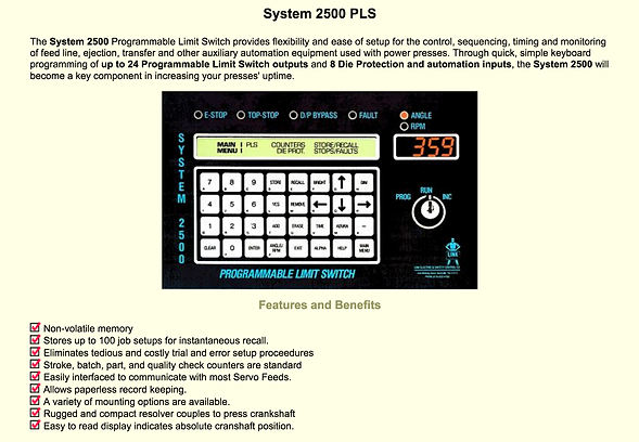 Die protection systems system 2500 PLS