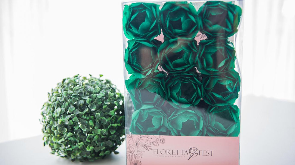 Caixeta floral verde bandeira com 30 unidades