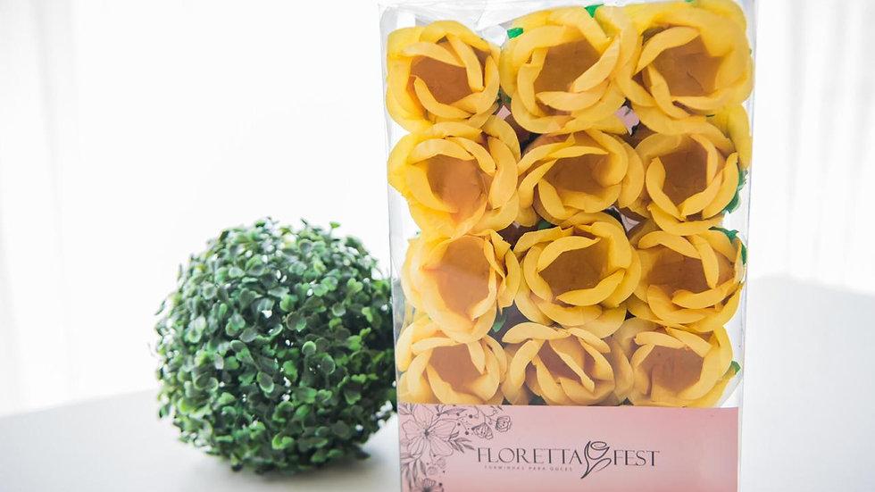 Caixeta floral amarelo gema com 30 unidades
