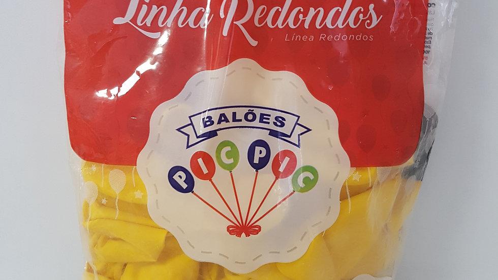 """Balão liso redondo amarelo 10"""""""