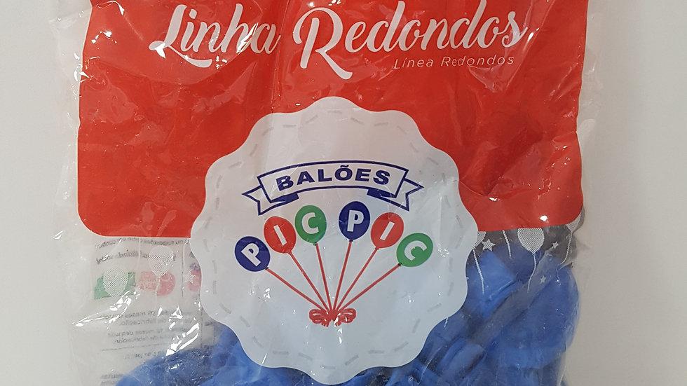 """Balão liso redondo azul 8"""""""
