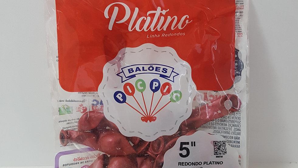 """Balão liso redondo platino vermelho 5"""""""