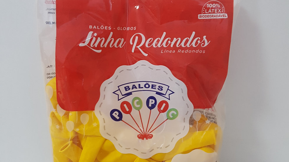 """Balão liso redondo amarelo 5"""""""