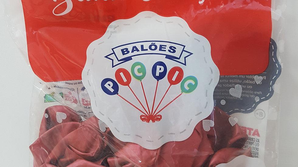 """Balão liso coração platino vermelho 10"""""""