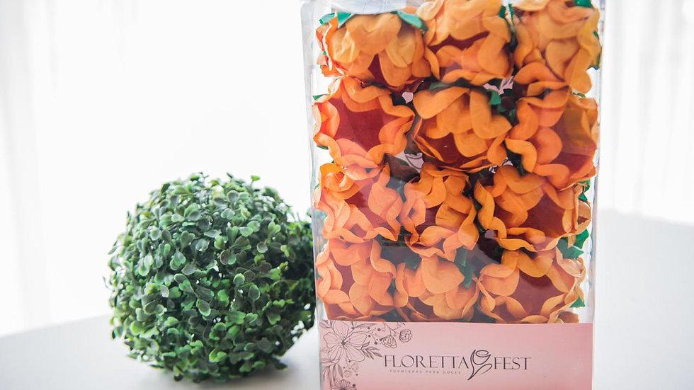 Caixeta floral laranja com 30 unidades
