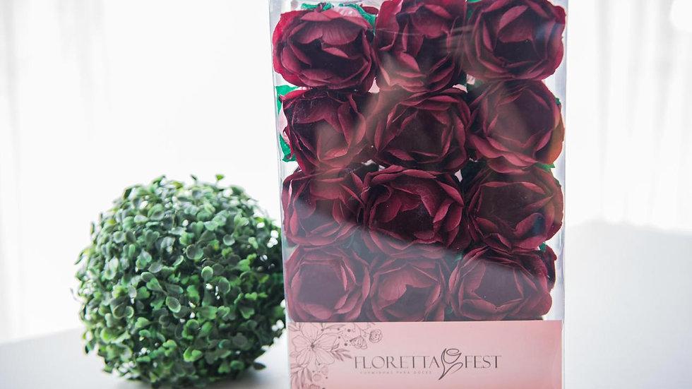 Caixeta floral bordô com 30 unidades