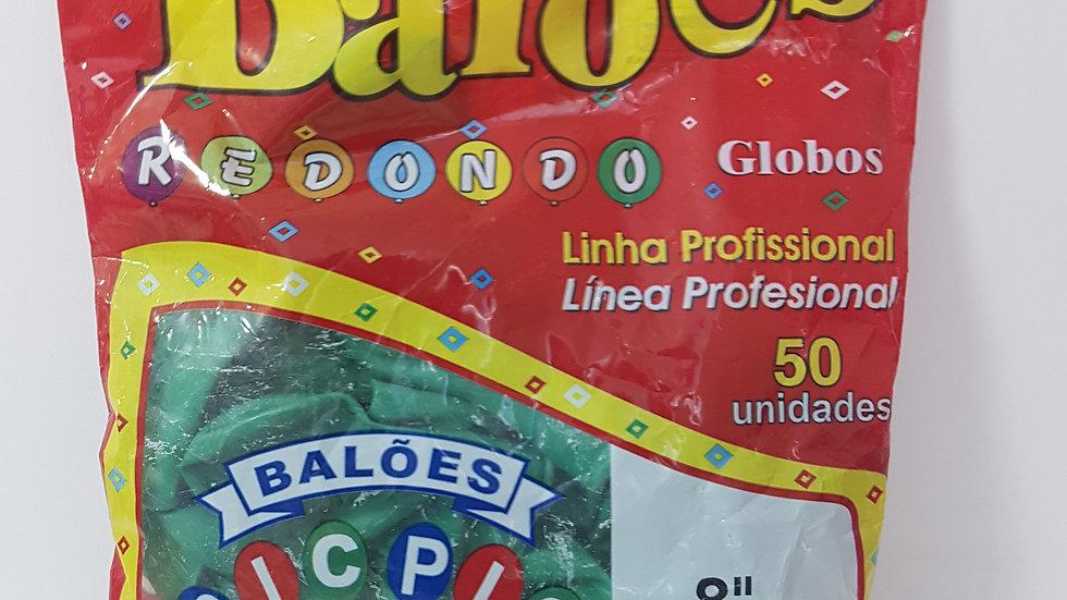 """Balão liso redondo verde escuro 8"""""""