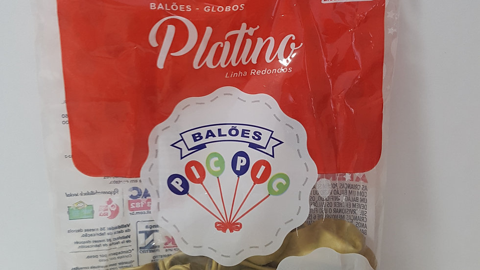 "Balão liso redondo platino ouro 5"""