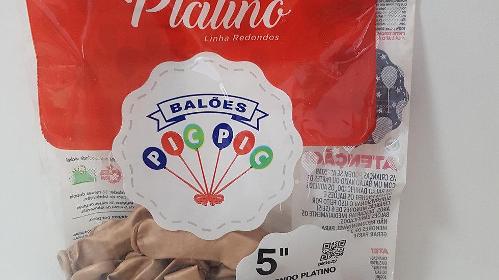 """Balão liso redondo platino rose gold 5"""""""