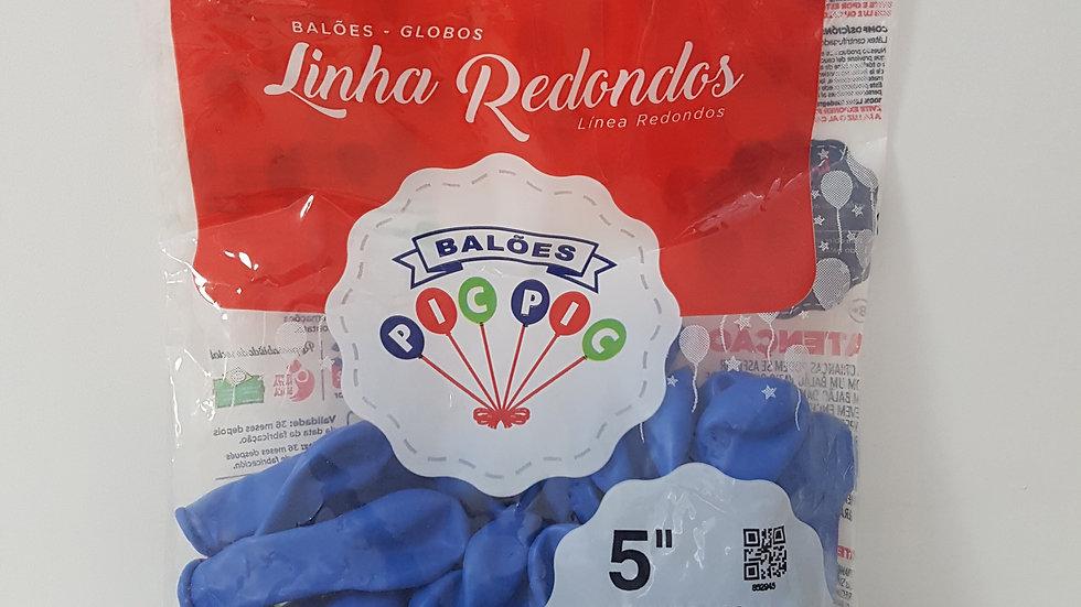 """Balão liso redondo azul 5"""""""