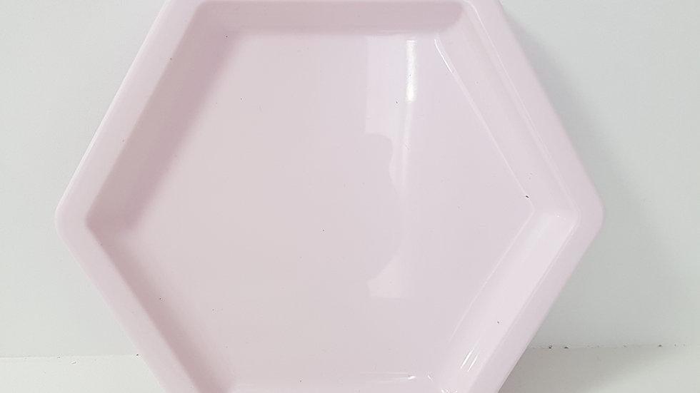 Bandeja sextavada Só Boleiras rosa claro