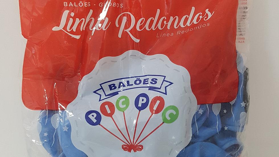 """Balão liso redondo azul 10"""""""