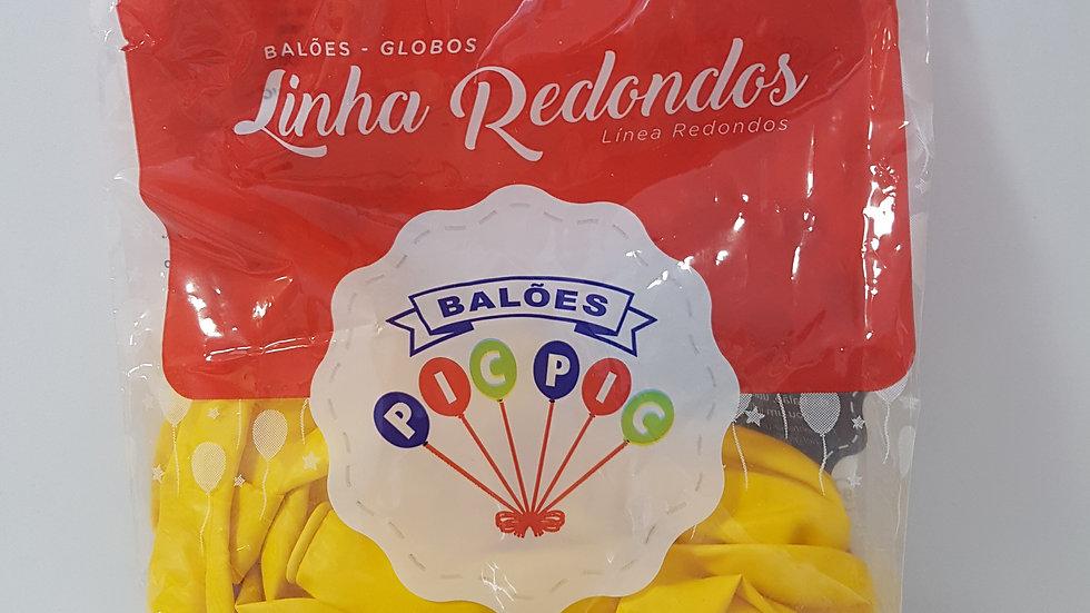 """Balão liso redondo amarelo 8"""""""