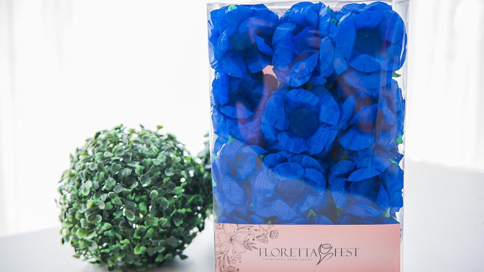 Caixeta floral azul royal com 40 unidades