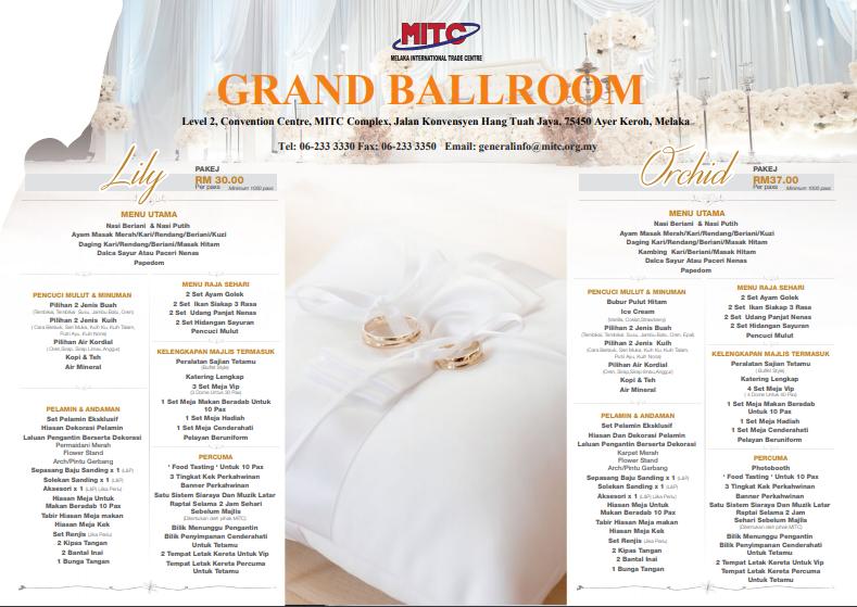 MITC Ballroom Klasik Wedding Packages