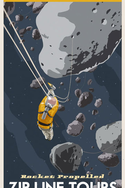 Asteroid Belt Travel Poster